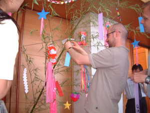 Making wishes to Tanabata ferstival decoration